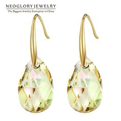 Neoglory cristal austriaco chapado en oro araña cuelga los pendientes de gota para mujeres niñas regalo de la joyería de moda nupcial 2017 nueva js9