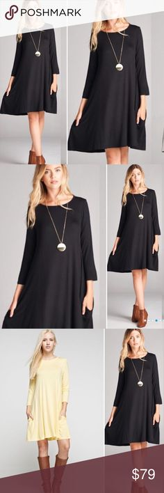 HOST PICK S-L Side Pocket Dress Fall perfection - comfort meets style in this adorable flowy dress with side pockets!!! Nice relaxed fit and looks amazing with boots or booties. Dress is black (yellow dress pic shown for shoe styling reference). Sizes S-XL. Material is 95/5 Rayon/Spandex. MADE IN USA! Excellent quality. Dresses