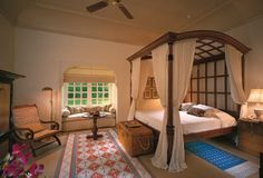 The Oberoi, Rajvilas:The Premier Rooms are set around tranquil courtyards with gardens and fountains.
