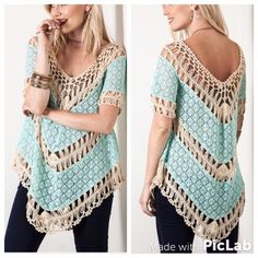 Bohemian Crochet Top S M L This beautiful boho top is lightweight with crochet details. Color: Teal Sizes: Small, Medium, Large.  To purchase: comment with size and I will create separate listing for you to purchase. Tops