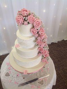 Vintage four tiered wedding cake delivered and setup at Horsley Lodge