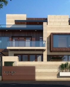 Residence at jaipur building elevation, house elevation, front elevation designs, house front design Modern Exterior House Designs, Modern House Facades, Bungalow Exterior, Modern Architecture House, Modern House Plans, Exterior Design, Facade Design, Architecture Design, House Outside Design