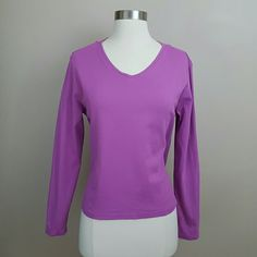 Lilac purple long sleeve v-neck cotton knit shirt Lilac purple knit shirt with long sleeves and a v-neck.  100% cotton. L.L. Bean Tops Tees - Long Sleeve