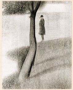 Tree and man study for La Grande Jatte, 1884, Georges Seurat