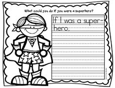 """This is a set of 3 """"Superhero"""" themed writing sheets. There are 3 levels as shown in the thumbprints for easy differentiation. Students can also have fun coloring the superhero after they write. I'll use these following the poem, """"What could you do if you were a superhero?"""""""