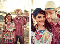 Vestido colorido festa junina