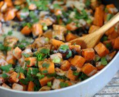 Sweet Potato, Chicken, & Black Bean Taco Skillet - Maybe Matilda
