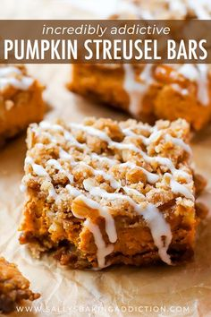 Instead of pumpkin pie this season, try my pumpkin streusel bars. With a gingersnap crust and brown sugar streusel topping, everyone will want seconds! Recipe on sallysbakingaddiction.com