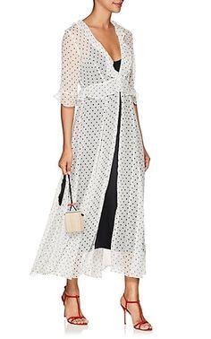 Polka Dot- & Star-Print Crinkled Silk Cardigan