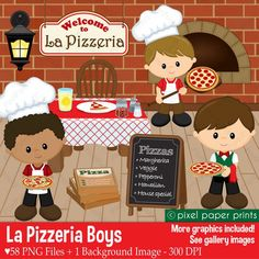 La Pizzeria Boys - Clip art and digital paper set - Pizza party clipart Pizza Party, Scrapbook, Photoshop Elements, Project Yourself, Stickers, Print And Cut, Party Printables, Graphic, Diy