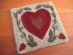 "Hooked Rug Pattern - ""Two Solitudes"" - 12"" x 12"" - Hearts and Vines"