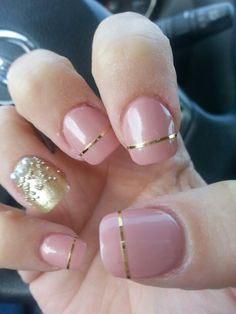 Pink, gold and pearl nails