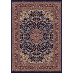 7-ft 10-in x 9-ft 10-in Navy Valencia Area Rug