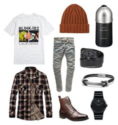 """This is my dream outfit lol"" by sampottorff13 ❤ liked on Polyvore featuring Uniqlo, Movado, David Yurman, G-Star Raw, Versace, Cartier, men's fashion and menswear"