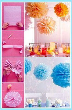 pelur kağıt süsleri  nasıl yapılır, doğum günü süslemeleri nasıl yapılır, renkli pelur kağıttan ponponlar,