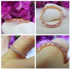 Rose gold and diamond wedding band by David Klass Jewelry.