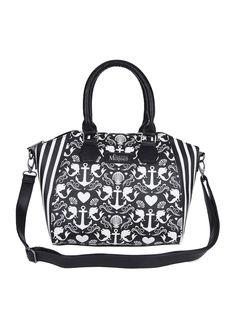 "Simulated leather satchel style bag with <i>The Little Mermaid</i> anchor print design. Zip closure.<ul><li> 10 1/2"" x 4"" x 6 1/2""</li><li>Simulated leather</li><li>Imported</li></ul>"