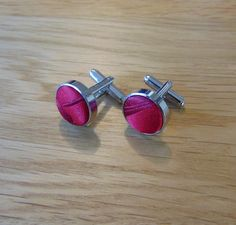 Passion Silver Plated Cufflinks Burgundy