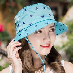 Full of heart bucket hat with wind belt for women UV protection sun hats