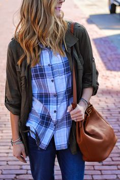 Borrowing from the boys this weekend. Pair your boyfriend denim with an Old Navy over sized Flannel.   Source: http://www.cellajane.com/2014/10/fall-looks-three-ways-with-old-navy.html