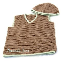 Boy's Vest + Free Hat OOAK 1 - 2 years - Brown & Pale Green - Eco Natural Cotton - Handmade by Amanda Jane in Ireland