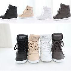 New Womens Korean High Top Wedge Flatform Lace Up Hidden Heel Fashion Sneakers