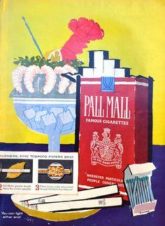 1958 Pall Mall Cigarettes Vintage Print Ad -  Mary Blair Art Illustration - Shrimp Cocktail