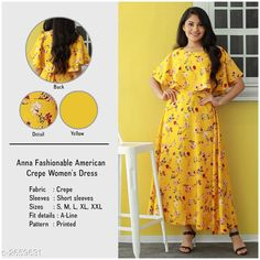Checkout this latest Dresses Product Name: *Women's Printed Yellow Crepe Dress* Sizes: S, M, L, XL, XXL Country of Origin: India Easy Returns Available In Case Of Any Issue   Catalog Rating: ★3.9 (4151)  Catalog Name: U&F Fashionable American Crepe Women'S Dress CatalogID_359680 C79-SC1025 Code: 723-2659631-
