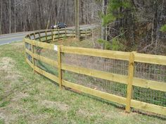 3 rail ranch fence with wire.