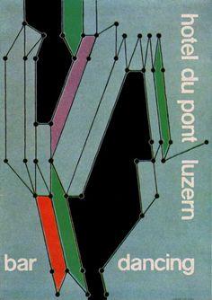 Gottfried Honegger. Poster for Hotel Du Pont, Luzen. From Gebrauchsgraphik No. 1, 1956 — by Sandi Vincent on Flickr.