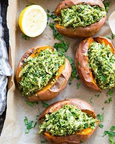 Chicken Pesto Stuffed Sweet Potatoes Paleo, is part of Food - These chicken pesto stuffed sweet potatoes are seriously tasty, filling and easy to make! A paleo and compliant pesto is mixed with shredded chicken and tops perfectly baked sweet potatoes Whole 30 Recipes, Whole Food Recipes, Food Recipes Summer, Recipes With Pesto, Paleo Recipes Easy, Cheap Recipes, Easy Tasty Meals, Food For Summer, Pork Recipes
