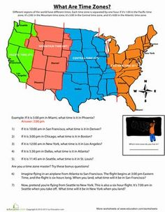 USA Time Zones  Time zones Geography and Worksheets