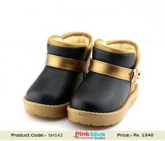 Buy Online Black and Golden Glamorous Baby Boys Booties for Parties