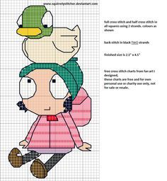cross stitch free chart of Sarah & Duck, cross stitch and half cross stitch all squares in colours shown using 2 strands, back stitch in black also in two strands in this design to make the lin...