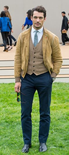 British model David Gandy at the Burberry Menswear S/S14 show in London