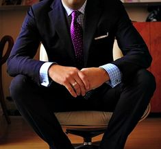 Fall Trendy Color = Navy Blue. For a more conservative, yet super slick look - Navy suit, light blue gingham shirt, purple tie.