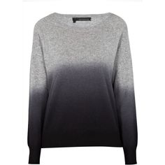 360 SWEATER DIP Knitwear found on Polyvore featuring tops, sweaters, grey, women tops, women sweaters, gray jumper, dip dye sweater and cold shoulder sweater