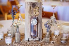Vintage Door Knob Table Number - wedding - A perfect centerpiece for your rustic or vintage wedding. This centerpiece lends itself well to a variety of wedding themes including vintage, antique keys, or country. They make a wonderful keepsake after the wedding displayed next to one of your favorite wedding photos. They can