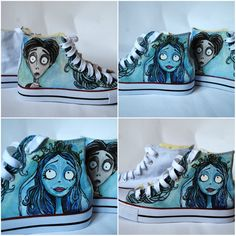 Personalized handpainted shoes The Corpse Bride Tim Burton