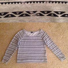 Aztec Print Sweater Light grey long sleeve sweater with black Aztec print. Fifth Sun Sweaters Crew & Scoop Necks
