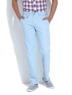 Mish Mash Pale Blue Straight Leg Chino - Jeans & Pants - Clothing - Men