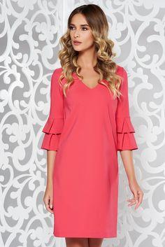 StarShinerS fuchsia office flared dress slightly elastic fabric with wrinkled sleeves Basic Style, Product Label, Flare Dress, Soft Fabrics, Cold Shoulder Dress, Glamour, Clothing, Sleeves, Vestidos