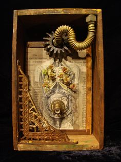 """Breath of Life. 2014 mixed media assemblage by Dianne Hoffman 12"""" tall x 7.5"""" wide x 4"""" deep www.diannehoffman.net"""