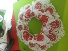 Christmas candle holder - Free-standing Lace w/red satin applique inserts and decorated with crystals.