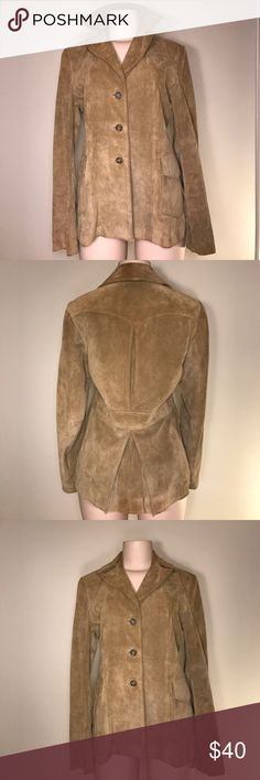 100% leather jacket Banana Republic fall button up leather jacket with front pocket detail and folds in back; barely noticeable signs of wear here and there; one light pen mark in upper right (as shown in picture) Banana Republic Jackets & Coats