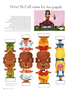 Bets McCall Paper Doll Printable - makes her own puppets, three little bears boucle d'or et les 3 ours Paper Puppets, Paper Toys, Paper Crafts, Fairy Tale Crafts, Goldilocks And The Three Bears, 3 Bears, Paper Dolls Printable, Printable Vintage, Free Printable