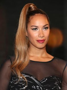 Leona Lewis- pony long brown straight hair styles visit www.ukhairdressers.com for #hairstyles and #hair advice