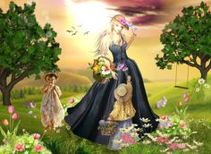 garden. flowers. child. outside. doll. swing. Captured Inside IMVU - Join the Fun!