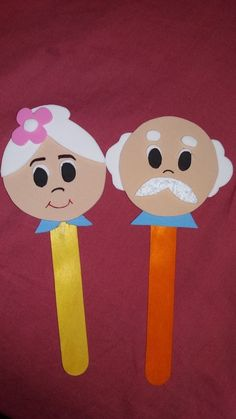 Popsicle Stick Crafts Craft Stick Crafts Preschool Crafts Grandmother's Day Grandparents Day Crafts Puppet Crafts Kids Boxing Dia Do Pai Crafts For Kids To Make Grandparents Day Activities, Happy Grandparents Day, Popsicle Stick Crafts, Craft Stick Crafts, Paper Crafts For Kids, Diy And Crafts, Preschool Art Activities, Art N Craft, Fathers Day Crafts