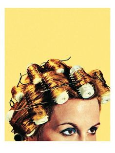 Woman with curlers in her hair Reproduction d'art